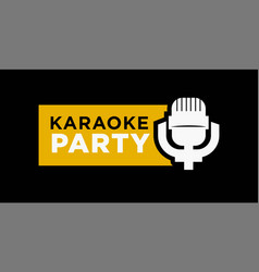 karaoke party promotional emblem with microphone vector image
