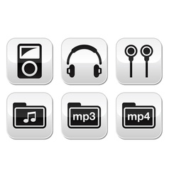 Mp3 player button set vector image