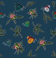 seamless pattern with leaves and butterflies vector image vector image
