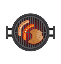 bbq with steak sausages preparation of meat in vector image