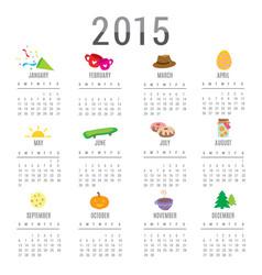 Calendar 2015 cartoon cute vector