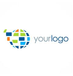 globe technology logo vector image