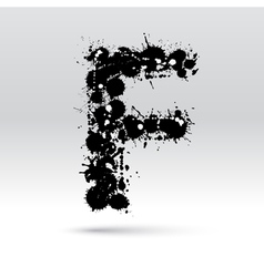 Letter F formed by inkblots vector image