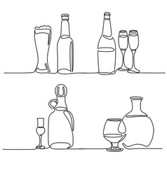 set bottle and glass isolated vector image vector image