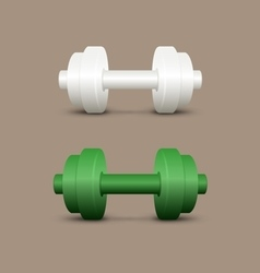 White and green dumbbells vector image