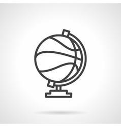 Basketball globe simple line icon vector image