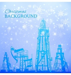 Oil rig and pump over snowfall vector image