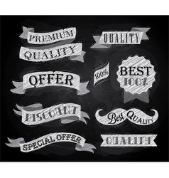 Set of retro ribbons and labels chalk vector image