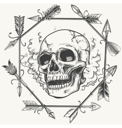 Sketch smoke skull and arrows frame vector image vector image