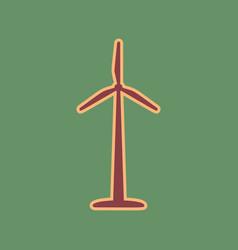 wind turbine logo or sign cordovan icon vector image vector image