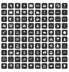 100 childrens playground icons set black vector