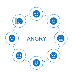 8 angry icons vector