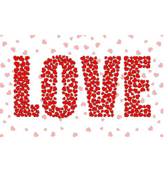 abstract word love of little red hearts vector image