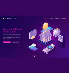 Accounting money transactions isometric concept vector