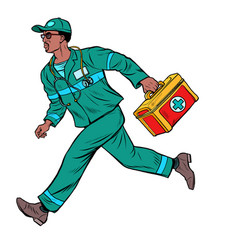 african ambulance doctor male medic with first vector image