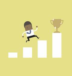 african businessman climbing ladder to success vector image