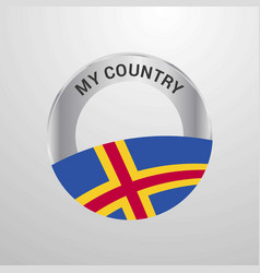 Aland my country flag badge vector