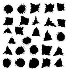black funny ink blots isolated set on white vector image