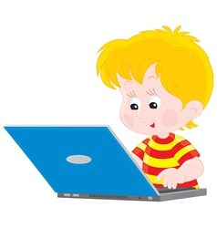 Boy with a laptop vector