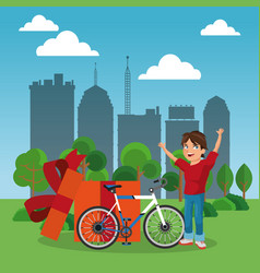 boy with new bike at park vector image