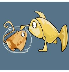 cartoon fish looks at the cat in the aquarium vector image