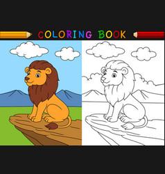 cartoon lion coloring book vector image