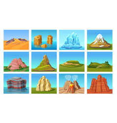 Cartoon mountain landscapes set vector