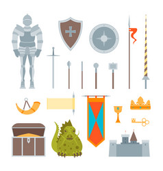 cartoon symbol of mediaeval color icons set vector image