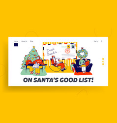 Characters writing letter to santa claus landing vector