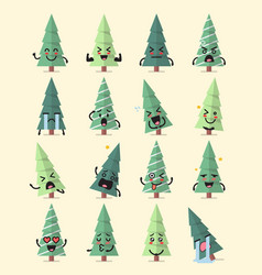 christmas tree character emoji set vector image