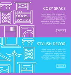 cozy corridor space poster set in linear style vector image