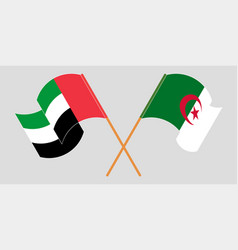 Crossed flags of algeria and the united arab vector