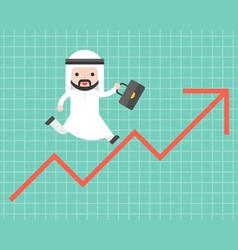 Cute arab business man running on arrow up vector
