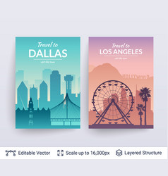 Dallas and los angeles famous city scapes vector