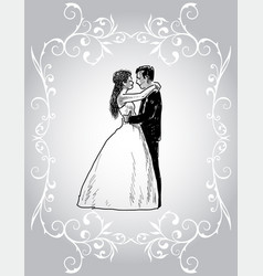 decorative card with happy newlyweds in vector image