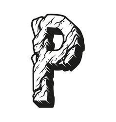 Desert alphabet letter p vintage concept vector