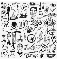 Drugs doodles set vector