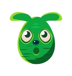 Easter Egg Shaped Scared Green Easter Bunny vector