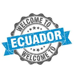 ecuador round ribbon seal vector image