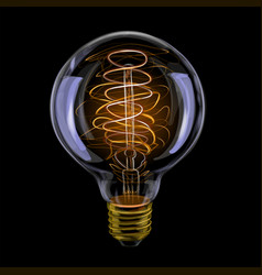 edison realistic antique glowing light bulb on a vector image