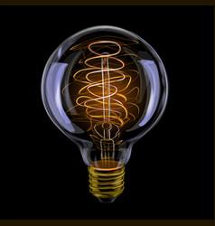 Edison realistic antique glowing light bulb vector