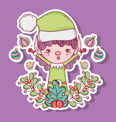 elf with balls and branches leaves decoration vector image