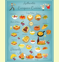 European Cuisine Menu vector