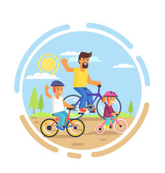 family bike ride with dad little daughter and son vector image