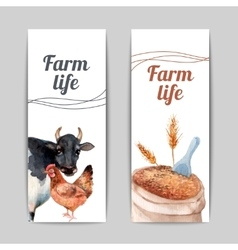 Farm life vertical flat banners set vector image