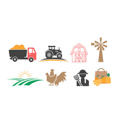 farmhouse icon design set bundle template isolated vector image