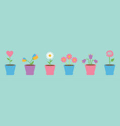 flower pot set line daisy chamomile tulip rose vector image