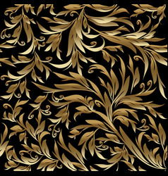 Foliage vintage gold seamless pattern black vector