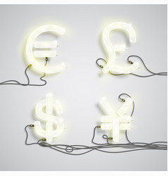 four different neon money sign vector image