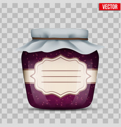 glass jar with raspberries jam vector image